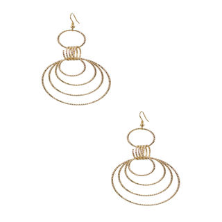 Gold Tone Multi Ring Drop Earrings