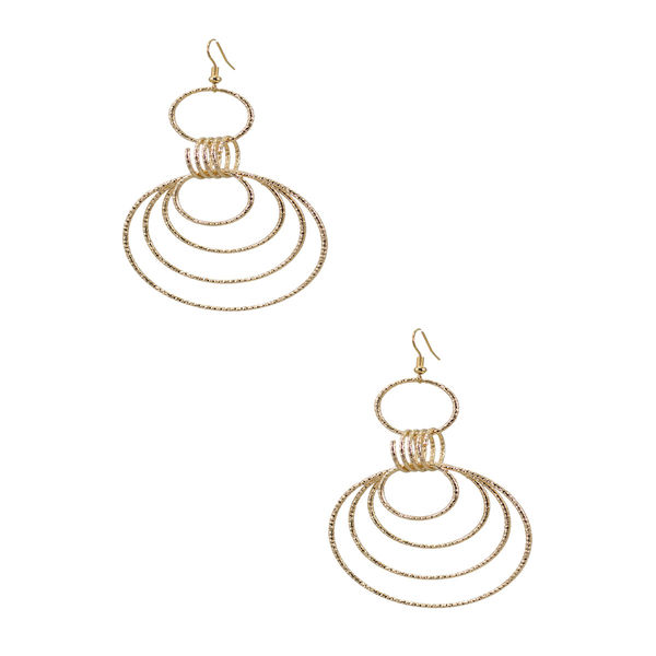 Gold Tone Multi Ring Drop Earrings