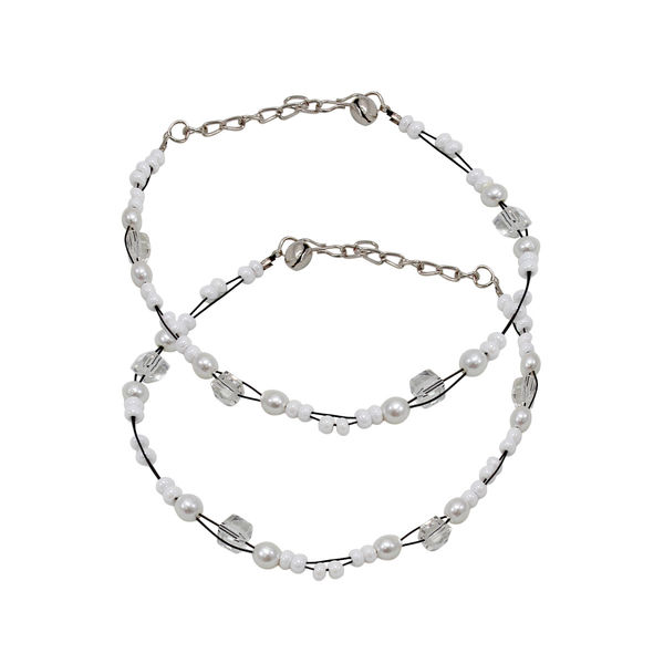 White Beads Fashion Anklet For Girls