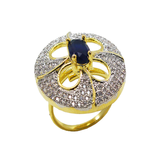Royal Blue American Diamond Studded Ring For Women