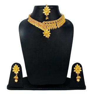 Gold Tone Floral Design Necklace Set For Women