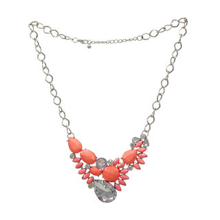 Light Pink Beads Fashion Necklace Studded With Crystal