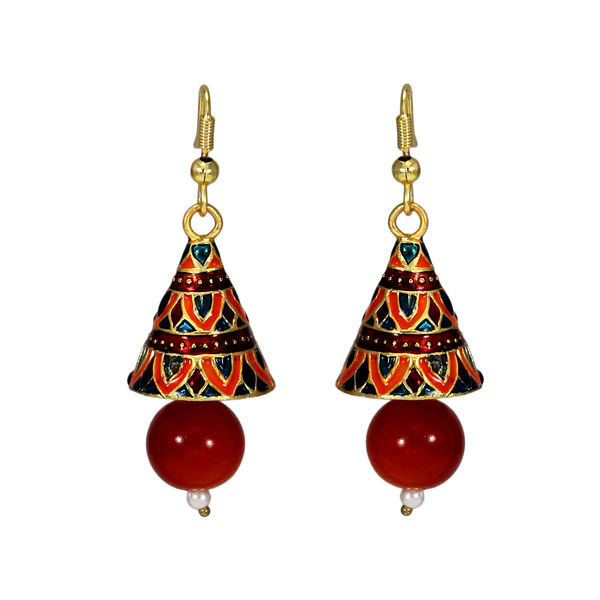 Orange Meenakari Jhumki With Dangling Pearl