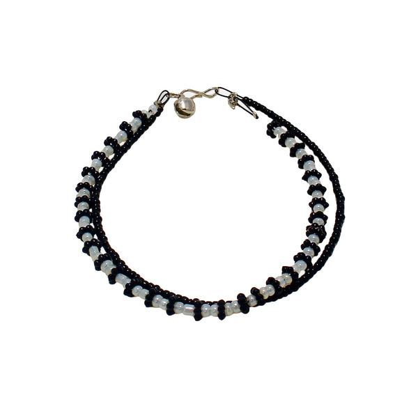 Black And White Pearl Adorned Tripple Layer Anklet
