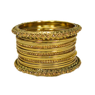 Golden Bangles Set Design With Stones For Women, 2-8