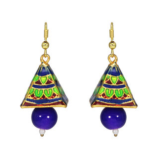 Green And Blue Temple Design Ethnic Danglers