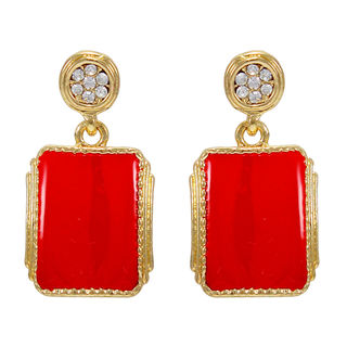 Trendy Gold Tone Red Danglers For Women