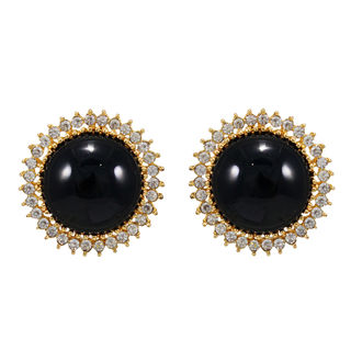 Round Black Stone Adorned Studs For Women