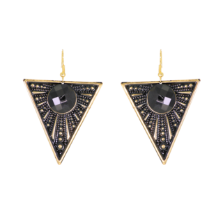 Triangle Shape Black Stone Metallic Fashion Danger Earrings