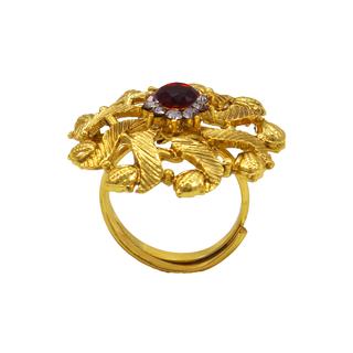 Golden Red Ethnic Polki Ring For Women