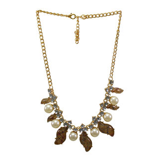 Stylish Brown Leopard Print Necklace With Dangling Pearl