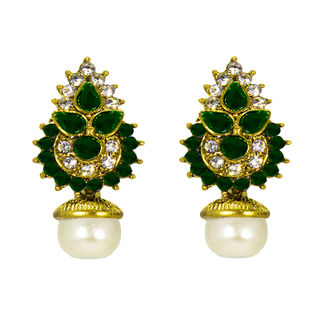 Dark Green And Golden Ethnic Stud Earrings For Women