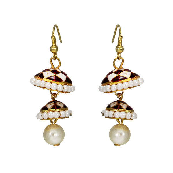 White Double Jhumki Earring With Dangling Pearl