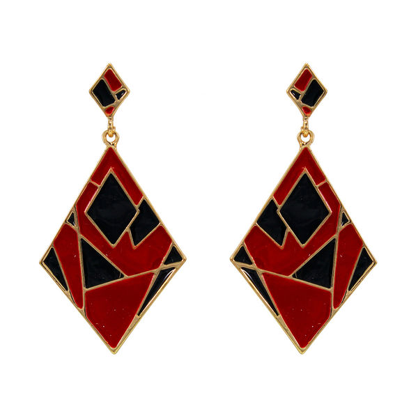 Trendy Black And Red Alloy Danglers For Girls,  green, 14 cm, m