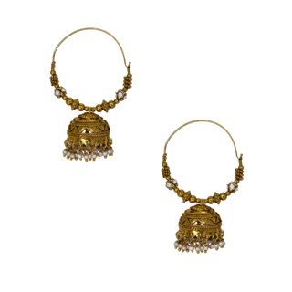 Beautiful Pair Of Golden Ethnic Hoops For Women