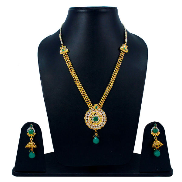 Traditional Green Stone s Adorned Necklace Set