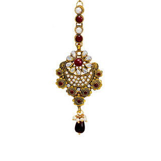 Multi-Color Gold Tone Traditional Mang-Tika For Women
