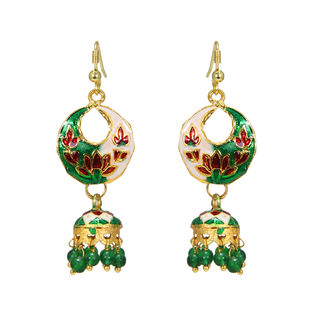 Red And Green Meenakari Designer Jhumki