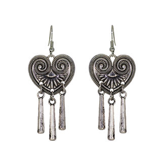 Oxidised Metal Heart Shape Earrings