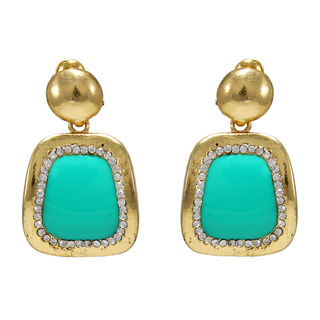 Dangling Blue Square With Golden Frame Earrings