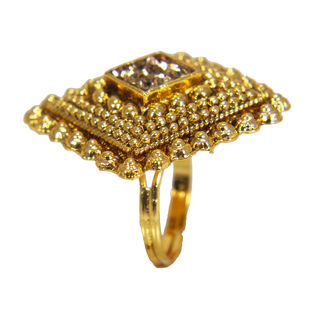 Gold Tone Fashion Ring In Square Shape For Women, adjustable