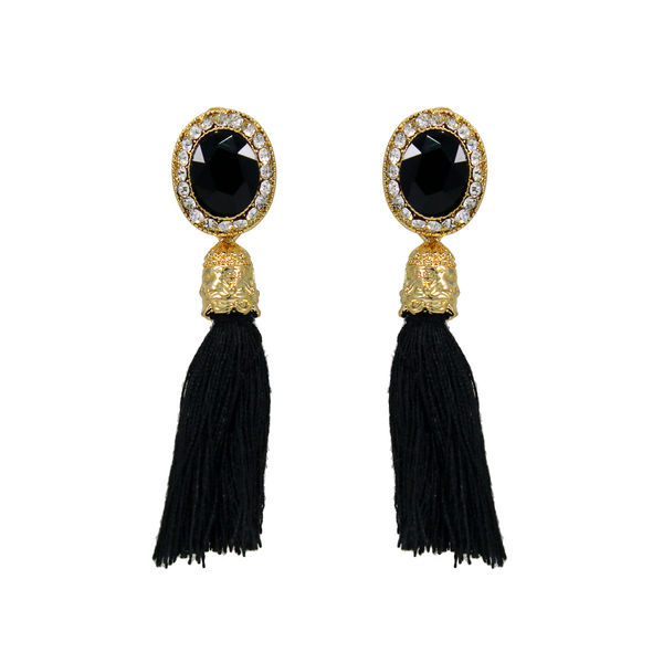 Black Stone Adorned Earrings With Dangling Threads