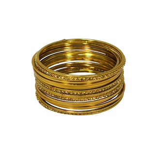 Alluring Golden 14 PC Bangle Set For Women, 2-4