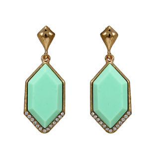 Light Green Stone Adorned Gold Tone Earrings