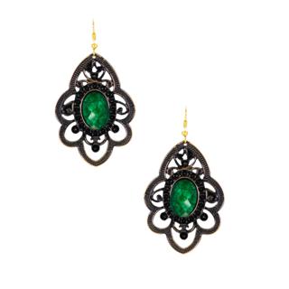 Metallic Green Stone Dangler Earrings For Women