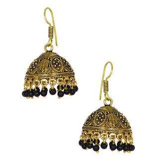 Metallic Oxidized Jhumki With Dangling Black Pearls