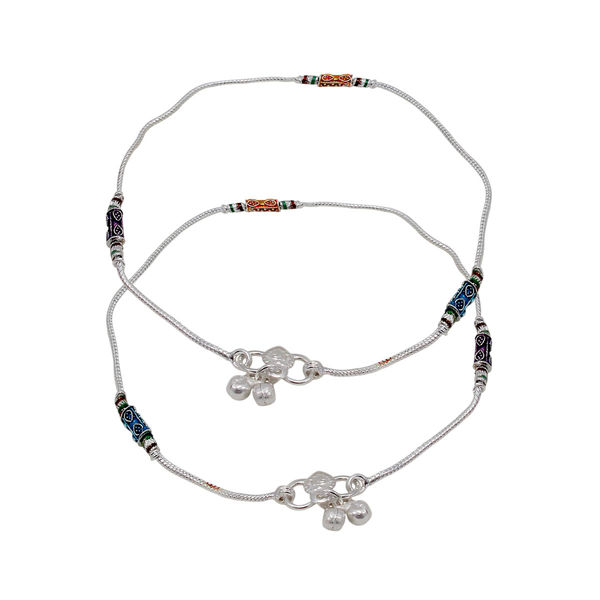 Designer Silver Payal With Blue Beads And Dangling Bells