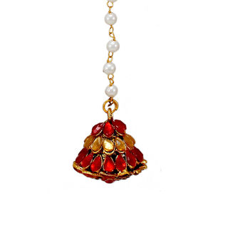 Red And White Kundan Adorned Maang Tikka For Women