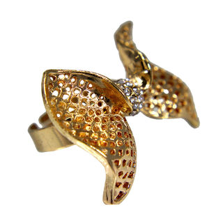 Gold Tone Bow Style Ring Adorned With Stones For Girls, adjustable