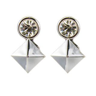 Silver Square Fashion Earrings In Alloy For Women