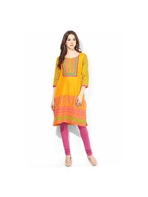Riya Printed Kurti, s,  yellow