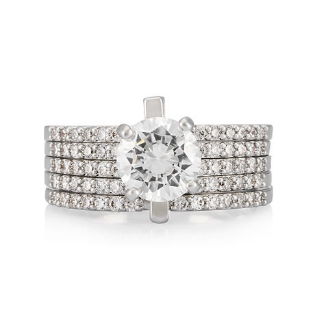 Shaze 4 Band Silver 70149 Ring