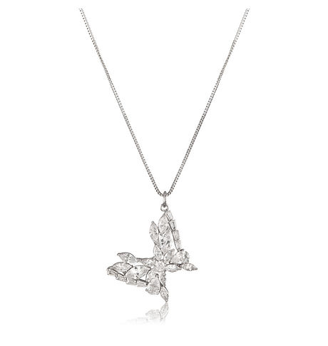 Shaze Silver 00029 Butterfly Necklace