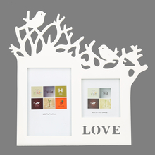 DBL Tree Bird MDF 4 x 6 Inch & 3.5 x 5 Inch Photo Frame - @home by Nilkamal, White