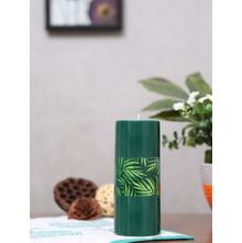 Evergreen Deep Large Rustic Pillar Candle, Green