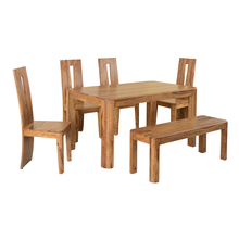 Granada 1+ 4+ Bench Dining Set - @home by Nilkamal, Natural Walnut