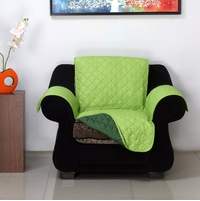 1 Seater Reversible Sofa Cover 179 cm x 165 cm - @home by Nilkamal, Light & Dark Green