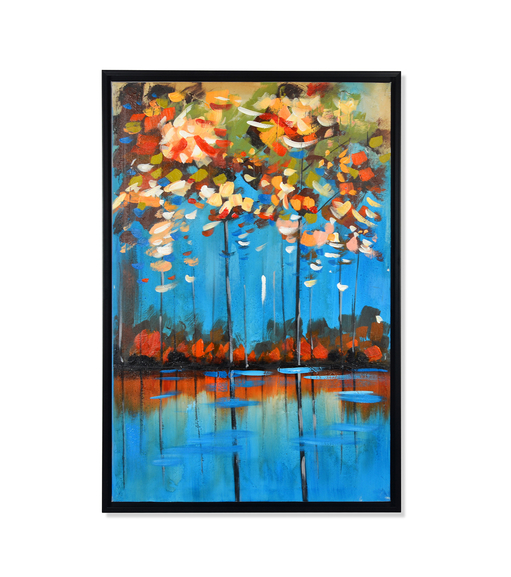 Woods Summar Picture Painting 60 x 90 - @home By Nilkamal, Indigo & Olive