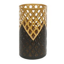 Mughal Jali Cutwork 13 cm x 13 cm x 22.2 cm Large Votive - @home by Nilkamal, Brown