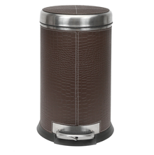 7 Litre Stainless Steel Pedal Dustbin - @home by Nilkamal, Brown
