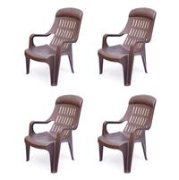 Nilkamal Weekender Garden Chair Set of 4 - Wheather Brown