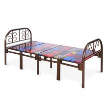 Nilkamal Grant Folding Metal Bed, Dark Brown