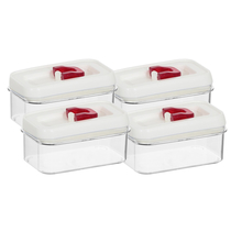 Airtight Acrylic 600 ml Cannister Set of 4 - @home by Nilkamal, Red