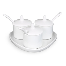 Condiment With Tray Spoon 16 Cm Set of 3, White