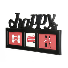 3 Happy Cluster Collage Photo Frame - @home by Nilkamal, Black