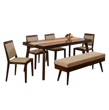 Matrix 1+ 4 Dining Bench Set - @home By Nilkamal, Walnut